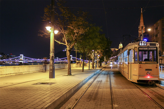 Tram on Batthyany square at night