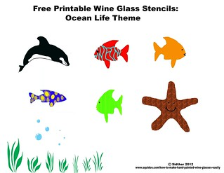 photograph regarding Free Printable Wine Glass Stencils known as Absolutely free Printable wine gl stencils Ocean lifetime fish paintin