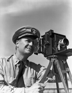 Lt. Joe J. Steinmetz with Speed Graphic camera at NAS Pensacola
