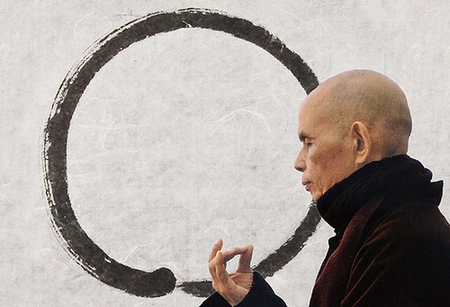 Thich Nhat Hanh Meditates with His Calligraphy as a Backdrop | by On Being