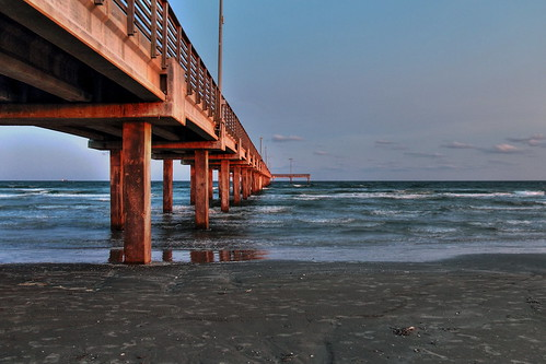 pier texas portaransas molo sea sunset crepuscolo hdr bluehour water gulfcoast