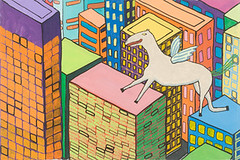 "Pegasus Flying over Building (16"" x 24"" acrylic on canvas)"
