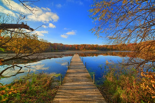 lone lake minnetonka minnesota fall leaves color brown water clear reflection clouds sky blue autumn seasons dock nature landscape hdr canon eos 5d mark iii 3 wood woods forest vanishing point beautiful breathtaking pretty