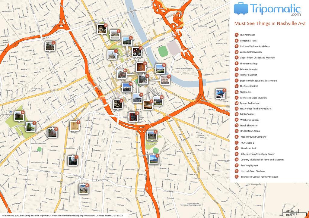 Centennial Park Map Nashville on