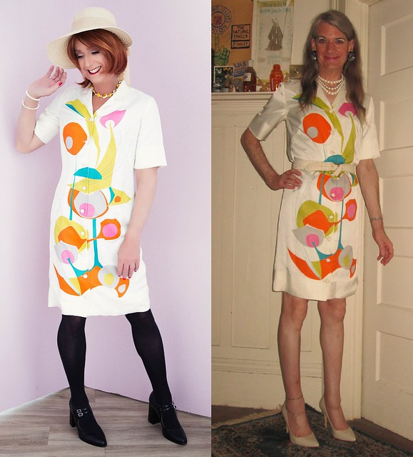 1960s Alfred Shaheen shirt front dress worn by Jaimie and Lila