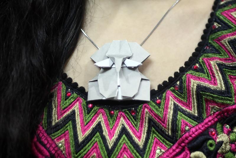 Origami Elephant Head Pendant