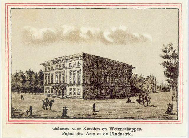 Het Gebouw voor Kunsten en Wetenschappen te Utrecht. Anonieme prent uit 1875. Coll. Het Utrechts Archief.