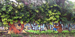 graffiti in shrubbery of a lion and a fish