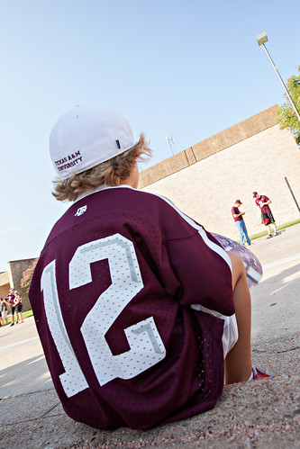 Young Aggie Waiting for Spirit Walk - 12th Man Jersey
