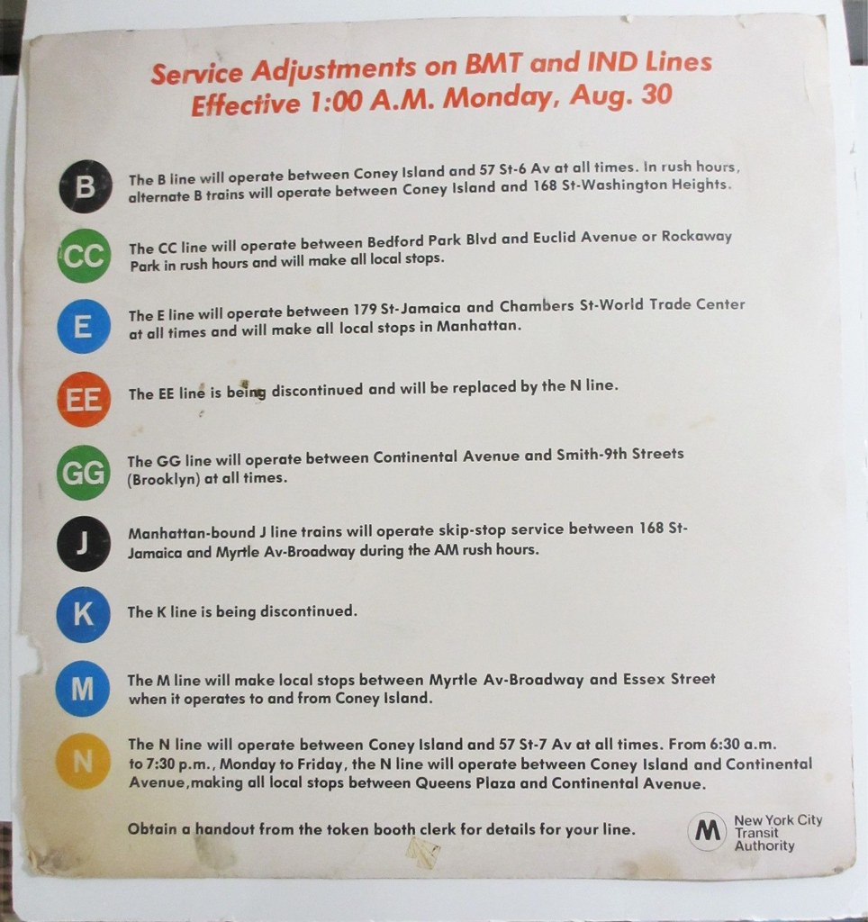 Service Adjustment on BMT and IND Lines Effective 1 A.M. Monday, Aug. 30