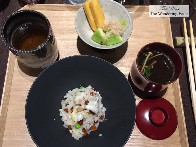 Course 8 - Complete tray of Koshi-hikari rice, sea perch, salmon roe (ikura), sencha tea, mushroom broth and pickled vegetables topped with bonito shavings
