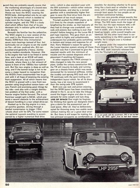 MG MGC Roadster & Triumph TR5 Twin Road Test 1968 (2)