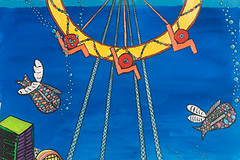 "Ferris Wheel with Two Flying Fish (16"" x 24"" acrylic on canvas)"