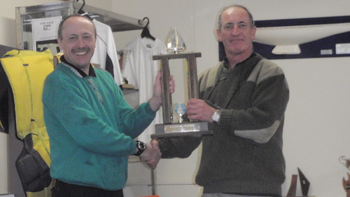Jeff Coffin receiving the Daval Trophy for 1st Senior placing in the Mark Foy Regatta   by PLSC (Panmure Lagoon Sailing Club)