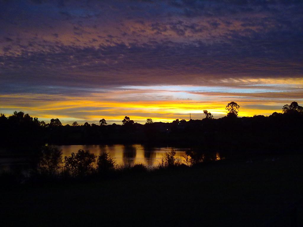 Sunset over lake, Glenwood, NSW.