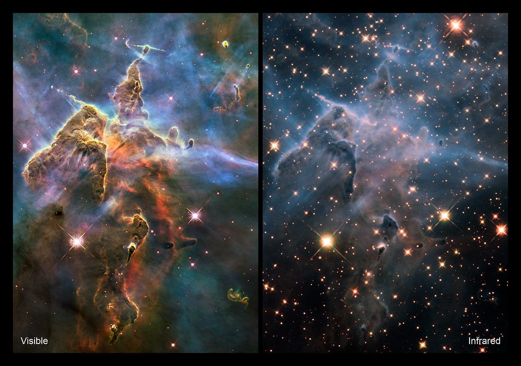 Carina Nebula in IR and Visible