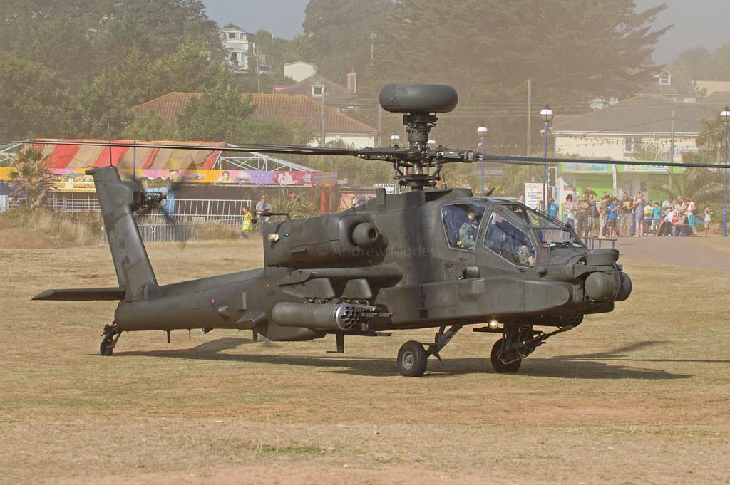 AAC Apache ZJ175 arrives at Dawlish Warren on 23 August 2012