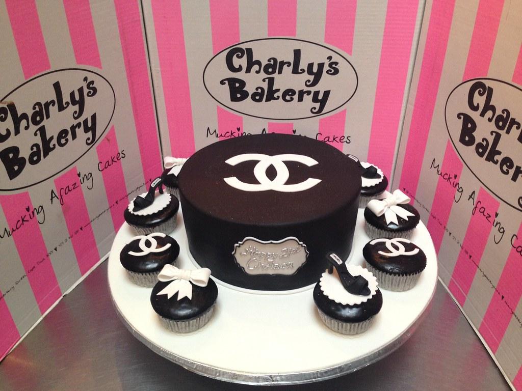 Pleasing Simple Elegant Chanel Themed Birthday Cake Covered In Bl Flickr Funny Birthday Cards Online Bapapcheapnameinfo
