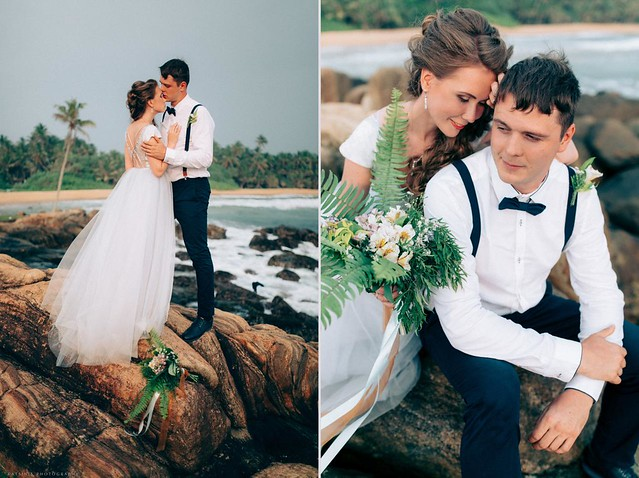 Fairytale wedding ceremony at lake