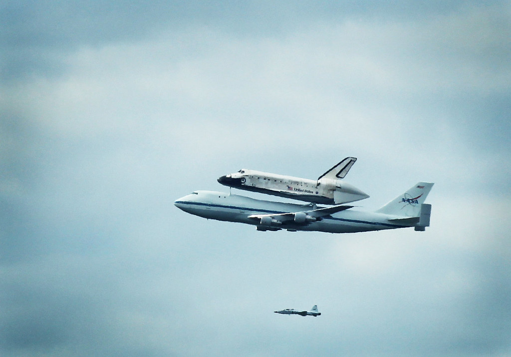 Space Shuttle Flyby from the Reeves Center