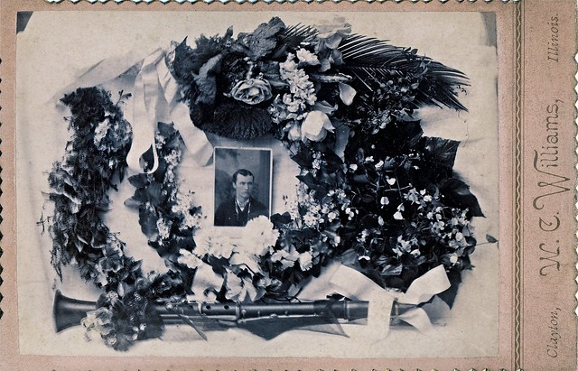Funeral Flowers for Deceased Young Man with a Clarinet that May Have Been His Own, Albumen Cabinet Card, Circa 1885