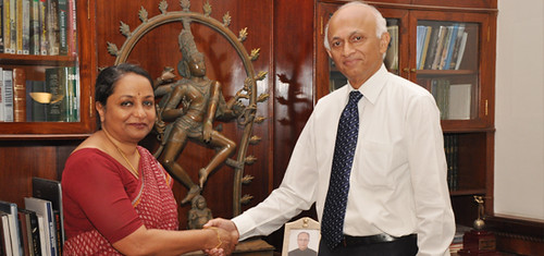 Ms Sujatha Singh takes charge from out going Indian Foreign Secretary Mr. Ranjan Mathai