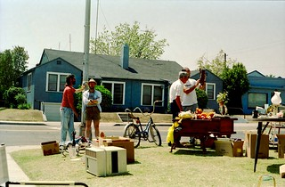 Spring1991-KodakEktar125Film_0022 - ACT UP CENTRAL VALLEY yard Sale - Olive and Arthur - Robbie, Dennis, Don McBride | by niiicedave