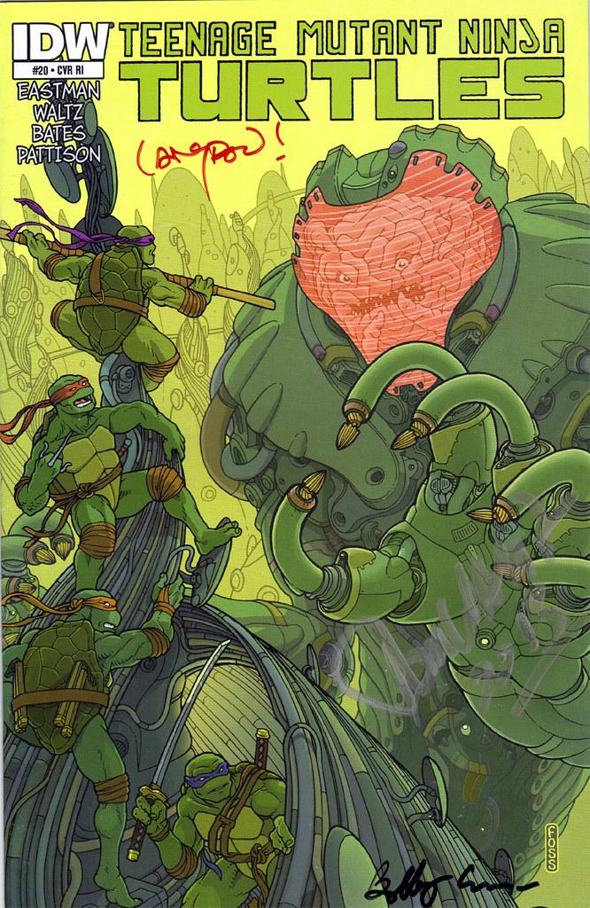 "IDW :: TEENAGE MUTANT NINJA TURTLES  #20; COVER RI - ""KRANG MECH"" art by Langdon Foss..signed by Langdon, Bobby Curnow & Tom Waltz (( 2013 )) by tOkKa"