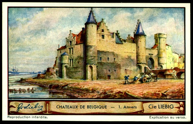 Liebig Tradecard S1288 Belgian Chateaux ~ Anvers