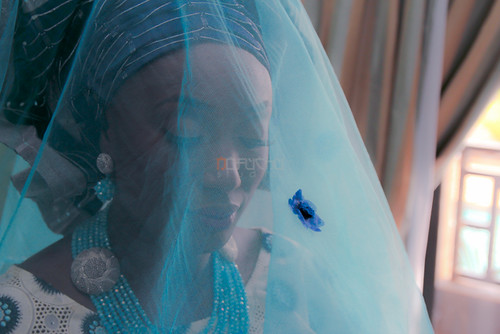 blue wedding portrait bride veil traditional nigeria ilorin nofuchu