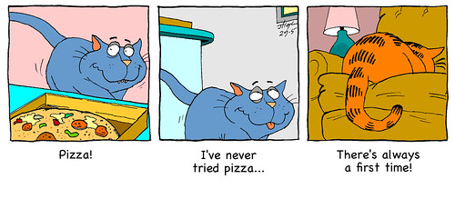 Catnip contemplates pizza | by Catnip Cat by Jeff Hoyle