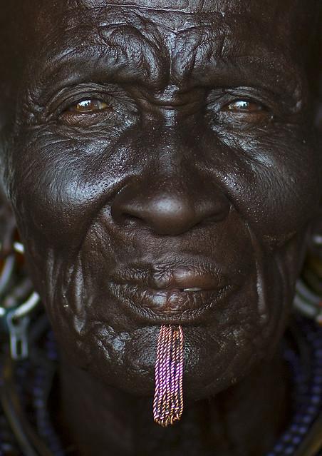 Old Turkana Triibe Woman With Labret, Turkana Lake, Loiyangalani, Kenya