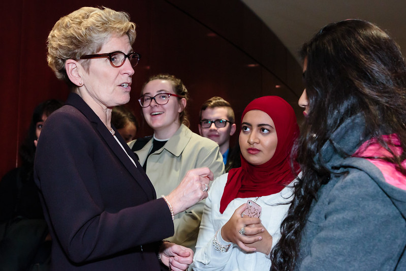 On Nov. 16, 2016, the annual Judy LaMarsh Lecture for Women in Leadership was held in the Isabel Bader Theatre at U of T's Victoria College.   This year's lecture, 'Building an Inclusive Society: The Power of Women in Politics', included Ontario Premier Kathleen Wynne. The lecture is part of the Vic One plenary sessions available to first-year students.   (Photos by Horst Herget)