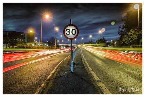 sydenhambypass lighttrails trafficsign nightshoot traffic trafficlights rearlights belfast eastbelfast harlandanwolff georgebestcityairport night nightshot 30mph northernireland canon7dmkii