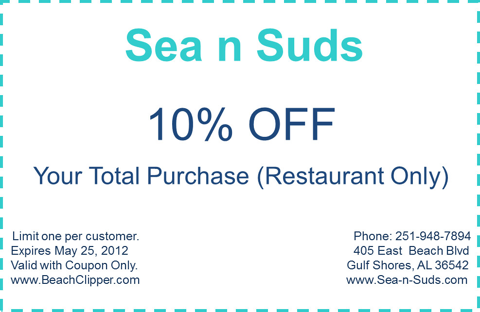 photograph about Gulf Shores Printable Coupons titled sea n suds printable coupon codes Sea n Suds Printable Coupon f