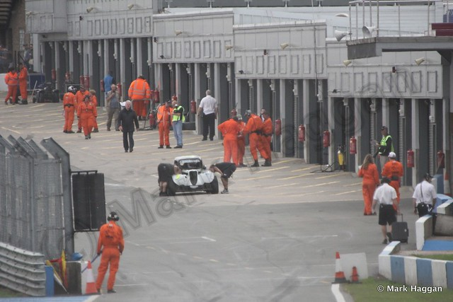 In the pits during CNC Heads Sports/Saloons at Donington Park