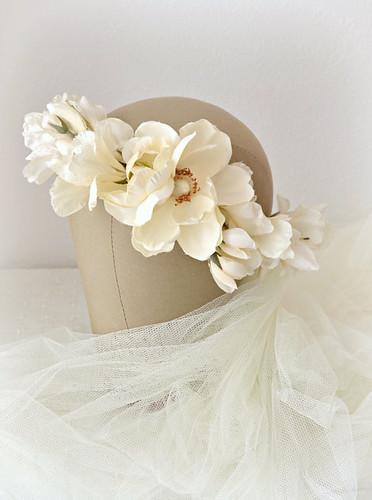 Blush bridal veil, wedding crown, rose circlet, wedding accessory | by Bellafaye Garden