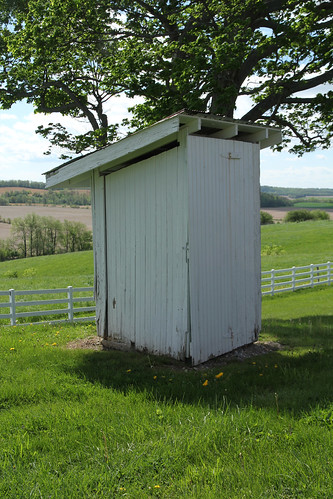 county wood roof ohio sky white building tree cemetery grass vertical fence landscape view painted shed scenic places farmland structure historic mount national tabor pasture frame salem champaign register siding outhouse exposed hilltop pleasant township rafters privy nrhp