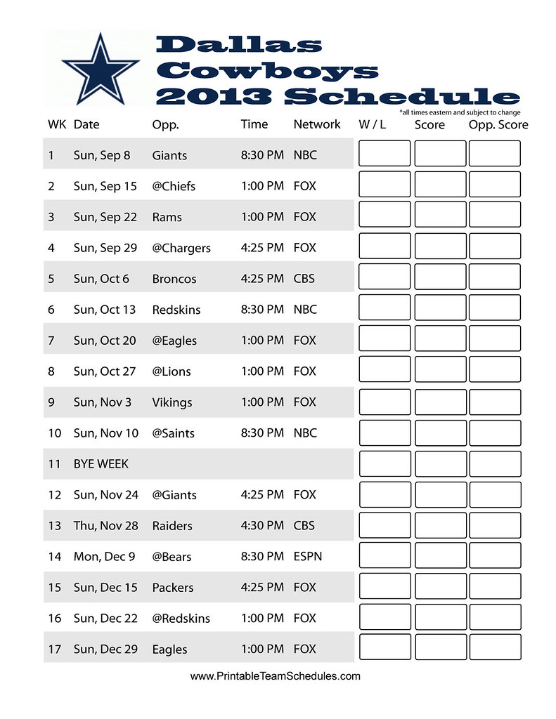 photo relating to Cowboys Printable Schedule identified as Dallas Cowboys 2013 Printable Timetable 2013 Dallas Cowboys
