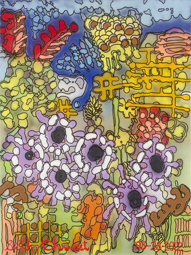 The Abstract of Garden with Large Violet Flowers and Other Plants (48 x 36 spray paint and acrylic on canvas)