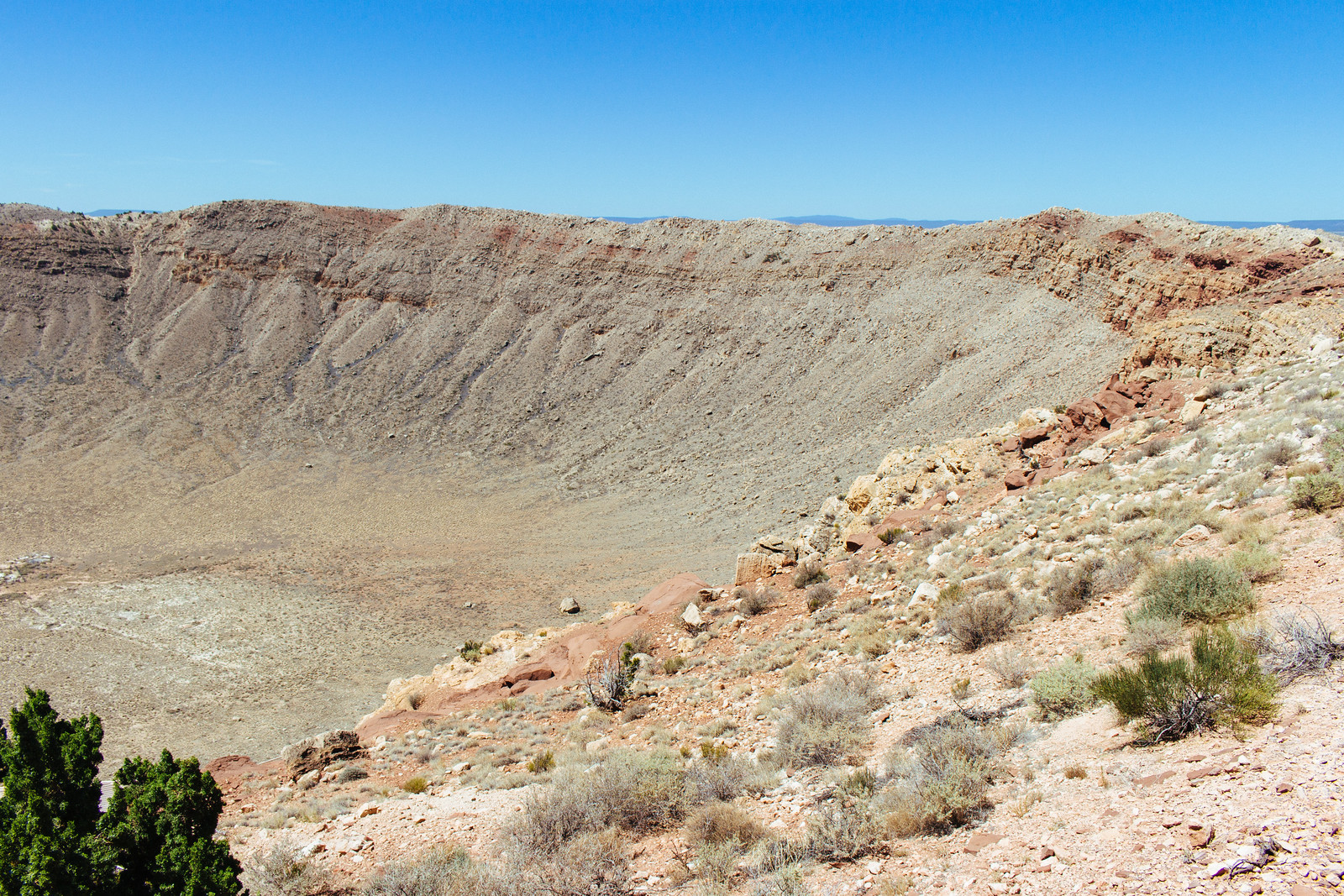 Impact crater seen from the rim in Arizona