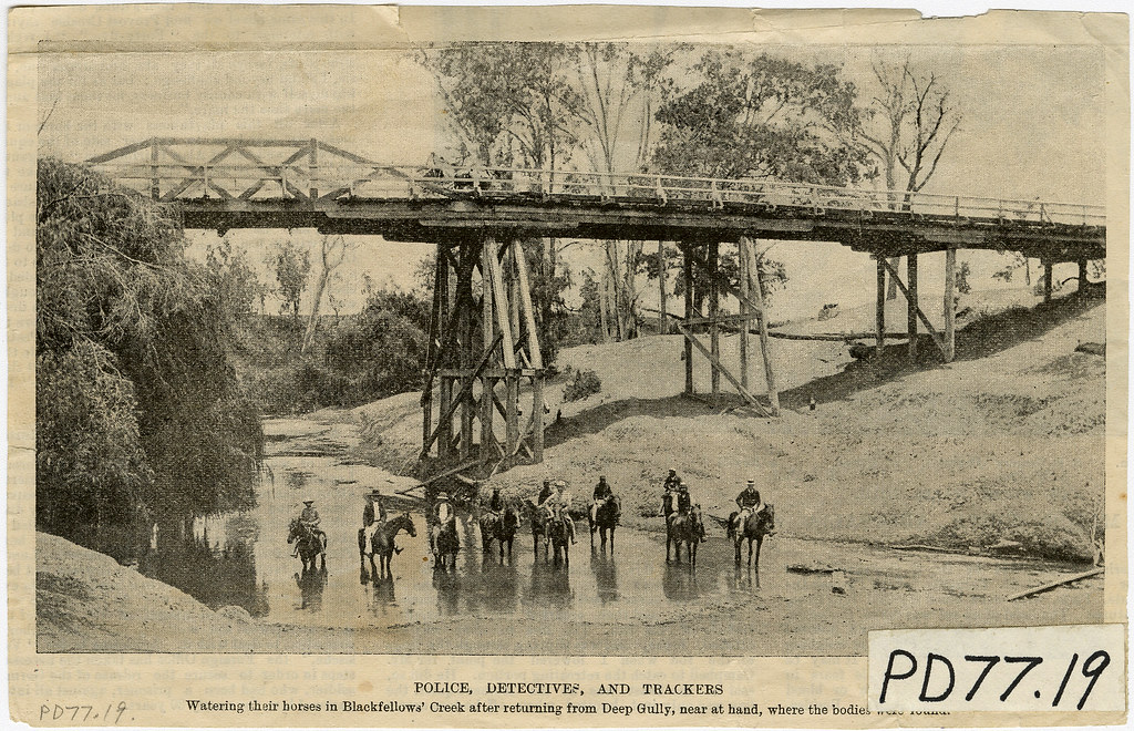 Police Detectives and trackers in Blackfellow Creek, Gatton, c 1899