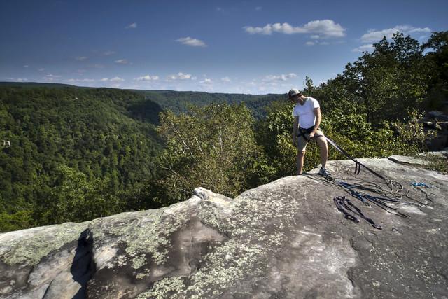 Rappelling, Bee Creek Overlook, Latimer High Adventure Reservation, Van Buren Co, TN