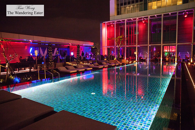 Rooftop pool at night
