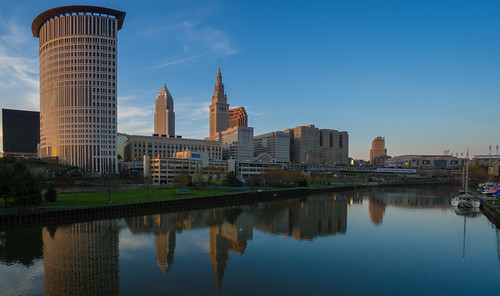 Cleveland at Dusk - View from the Flats | Tower City, The ...