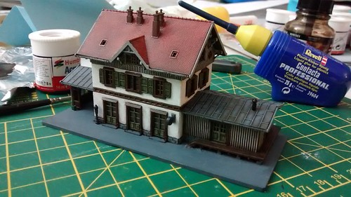 z-scale train station fully assembled and nearly finished | by lilspikey