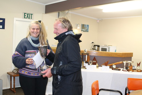 Chantal presenting Whiting Cup to Ian Wallace, winner of the Winter Series | by PLSC (Panmure Lagoon Sailing Club)