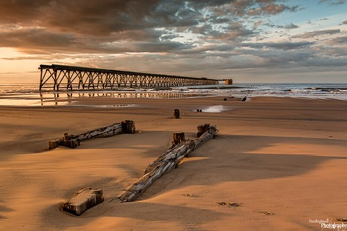 wood sunset sky seascape clouds canon photography pier sand shadows timber cleveland hitech hartlepool formatt steetley