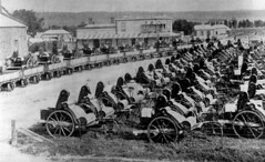 May Bros harvesters ready for transport c1900
