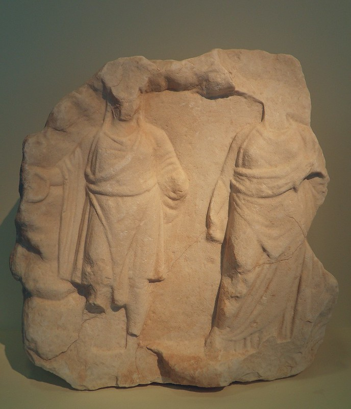 Marble votive relief depicting the goddess Cybele and her beloved Attis, Roman times, Philippi Museum